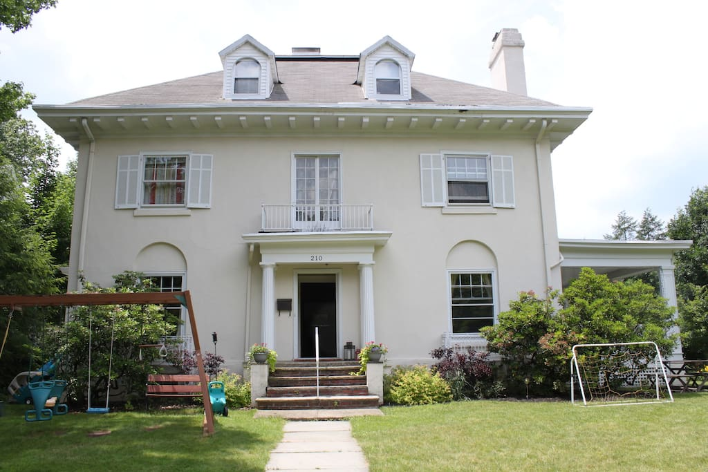 Single family home, 13-room Georgian Colonial built 1907. View of house from front