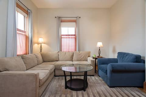 The Dorset Bedroom 2 w/Central AC! | Queen Bedroom w/EnSuite TV | Short walk to the Redline for UMass and Mass General!