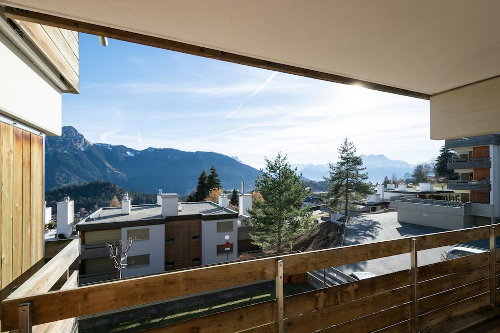 View of the Alps from the balcony.