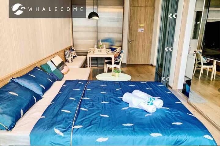 曼谷素坤逸Phrom phong豪华公寓近BTS和EM贵妇商场/sky pool【51908】