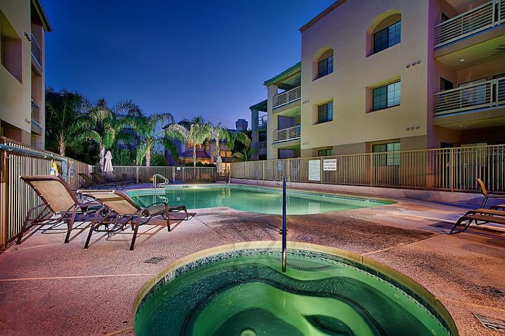 Community: Large heated pool, hot tub, and BBQs.
