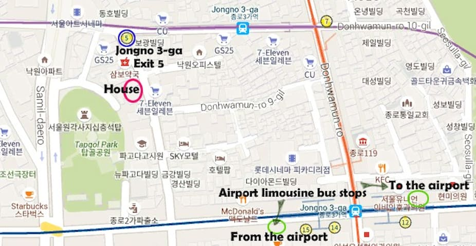 The locations of airport bus stops and the closest subway station.