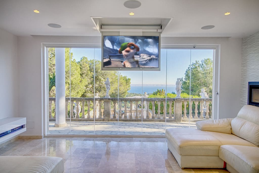Lounge with drop down surround sound TV