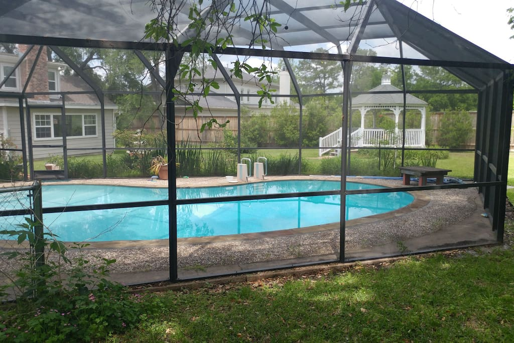 Screened-in pool and hot tub