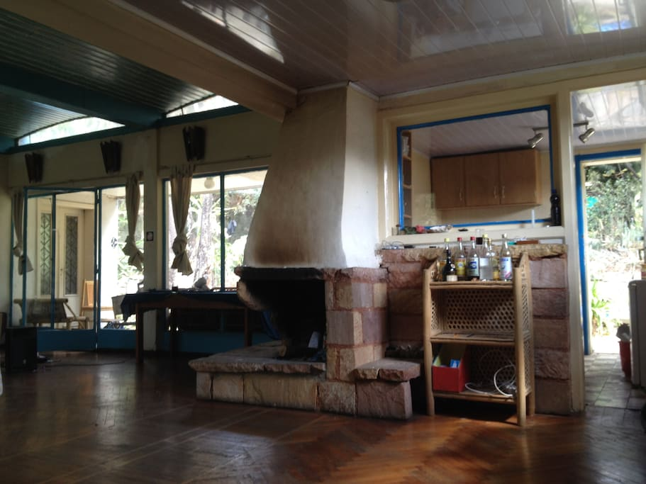 This is the a view of one side of the house. You can see fireplace here (working!)