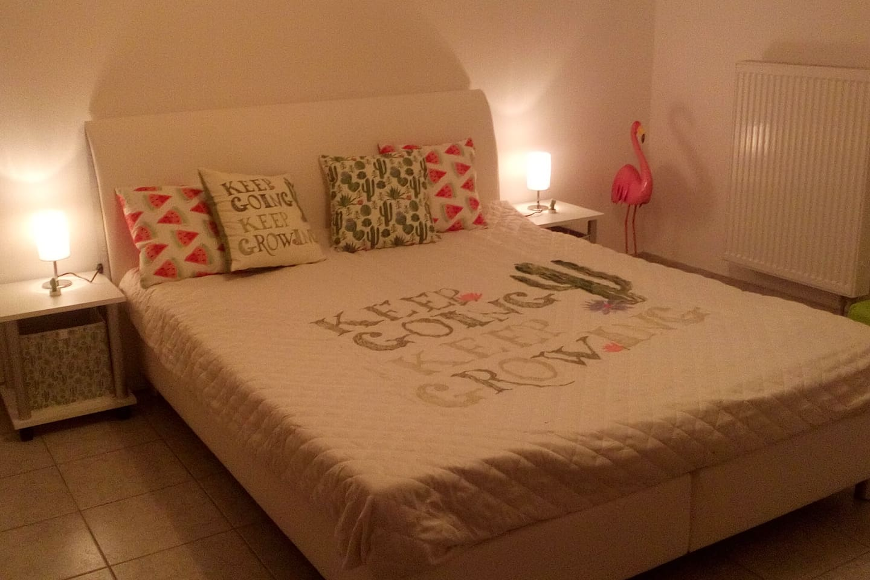 """Gästezimmer 1: """"The Flamingo & the Cactus"""" Doppelbett 160cm x 200cm"""