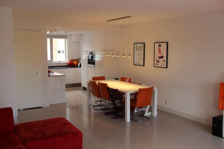 Scene of the living room, including a big and modern dining table