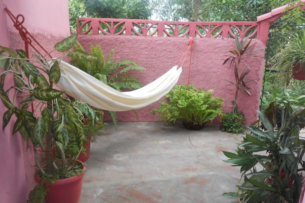 vista de la terraza con hamacas