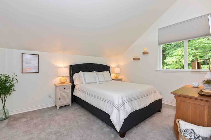 The single bedroom has a queen bed. The living room sofa makes up to another queen bed. There is also a twin bed that can be set up in the bedroom or the living area. A pack and play is available for infants.