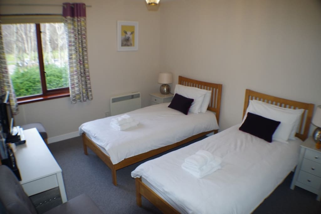 Ensuite twin room fully equipped with TV/DVD, hairdryer, tea and coffee, and device charger