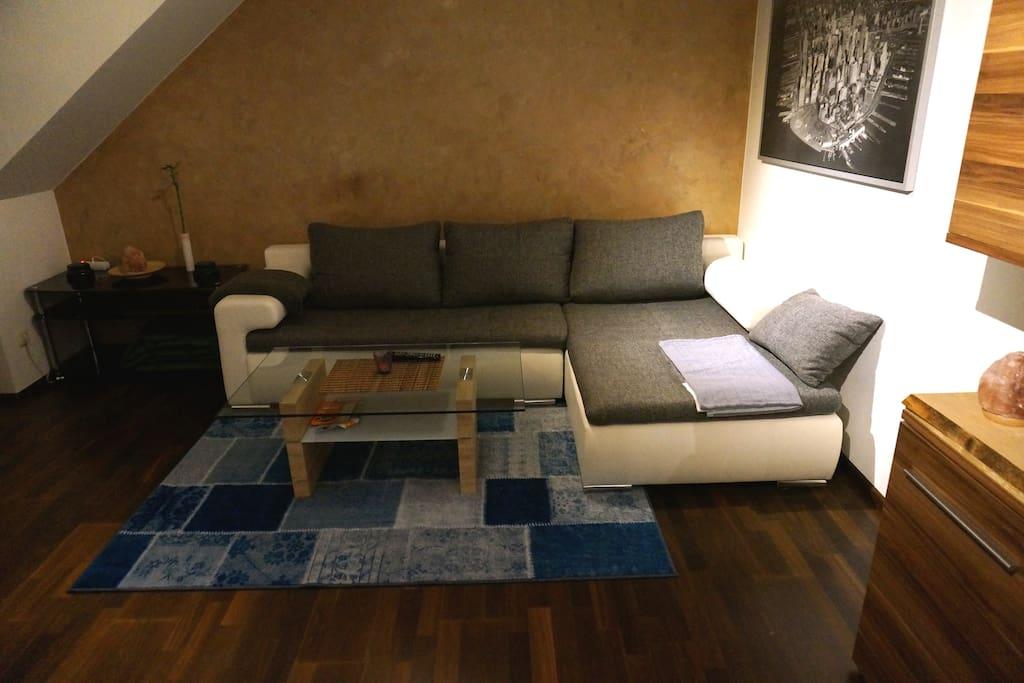 Spacious living room with cozy sleeping couch - Großzügiges Wohnzimmer mit gemütlicher Schlafcouch