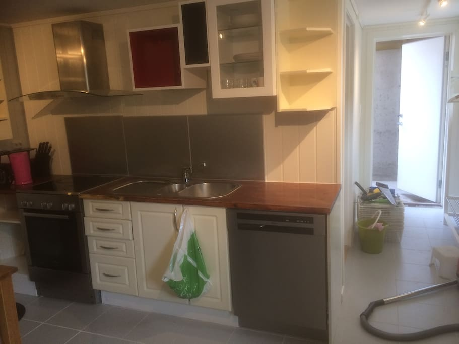 Kitchen with dish washer, microwave