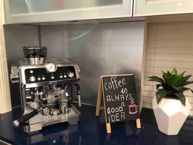 Modern kitchen catering for the serious coffee lovers.