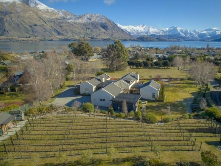 Property from above, private bedroom is top left side, facing lake and mountain views