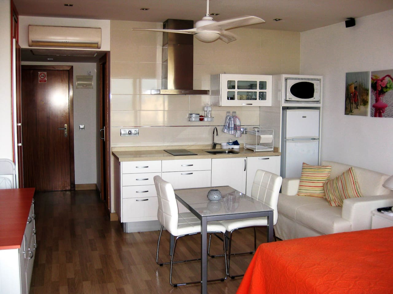 General view, entrance, air conditioning, fan,  kitchen, table with chairs, sofa-bed, and just a small part of couple bed and sideboard.