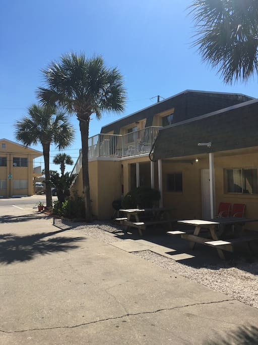 Only 110 steps to the beachside pool. Room is located behind the picnic table on the left