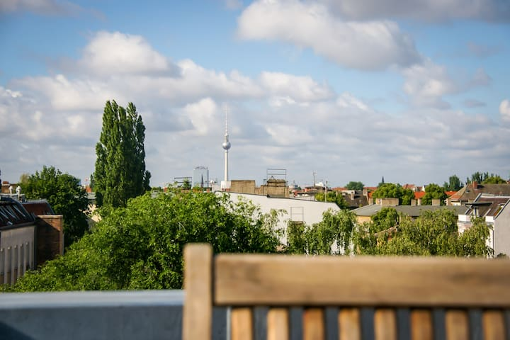 view to berlin tv-tower from the roof top terrace