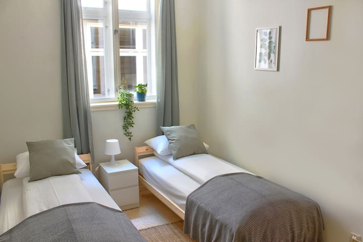 Private room with two single (90cm x 200cm) beds. Large and bright room with electronic access (the door handle has a pin code).
