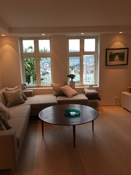 Living room with view over Bergen city