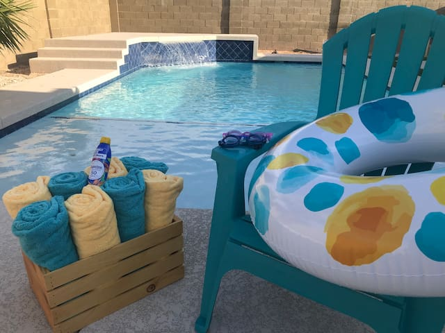 Fresh pool towels, sun loungers, goggles, a variety of pool floats and sun screen are provided to our guests for a fun and safe experience while using the pool!