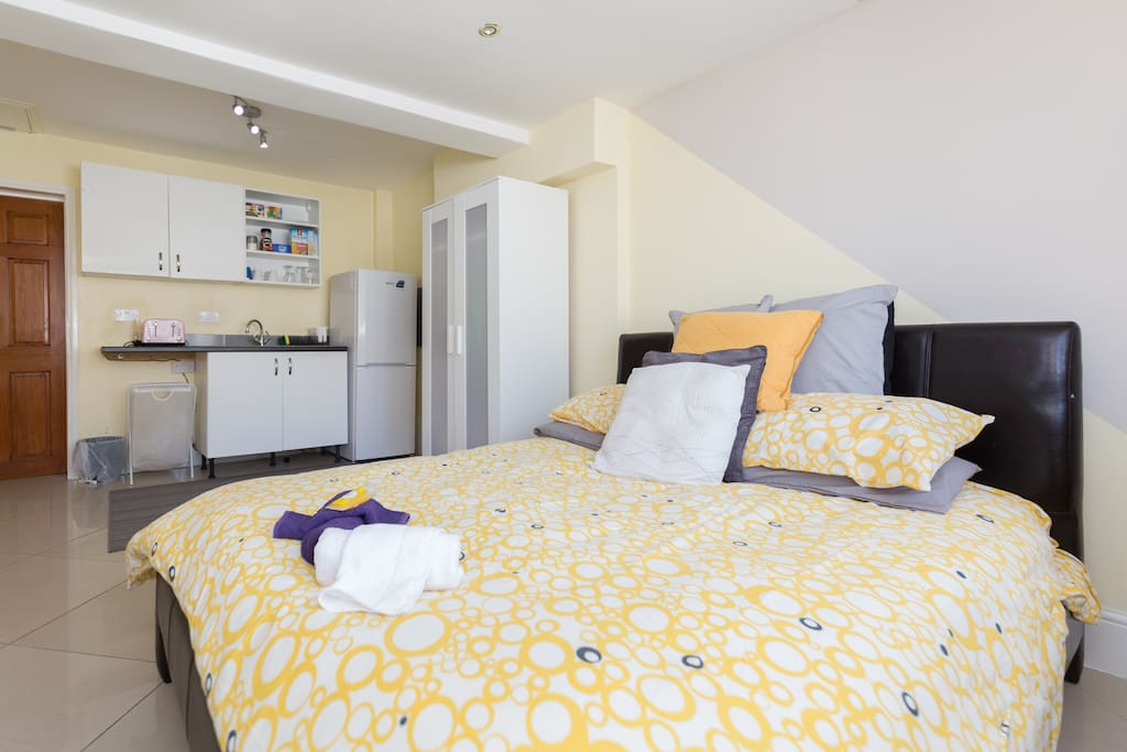 Very spacious double bedroom, with a basic kitchen space within the room. (studio-flat)