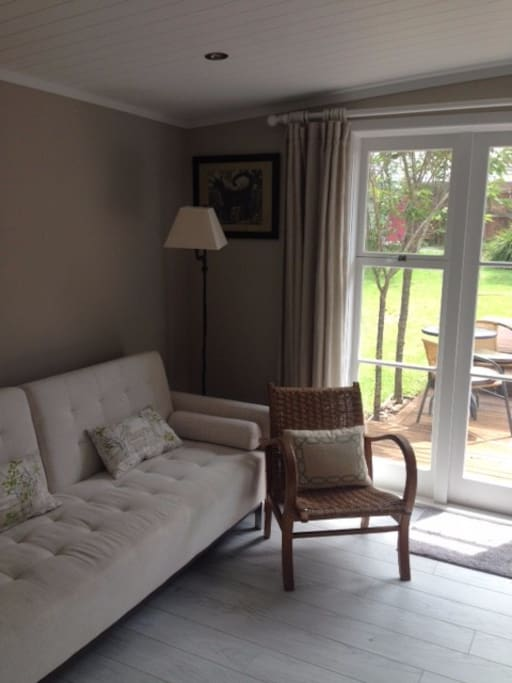 Lounge leads on from bedroom but has a curtain to separate the two areas perfect for families