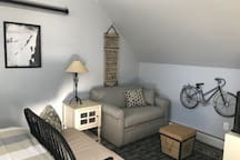 Cozy living space to watch TV, read or play a game.  Loveseat is a pull out bed as well.