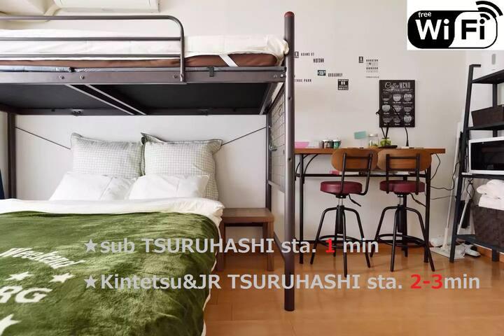 ★3F★3WAY★1min TSURUHASHI Sta/Near Namba/Wifi Free