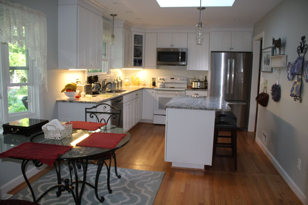 Kitchen with ample lighting and counter space