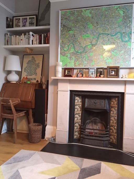 The lounge with London map and fireplace