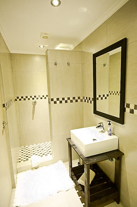On-suite bathroom with shower, toilet and hand wash basin