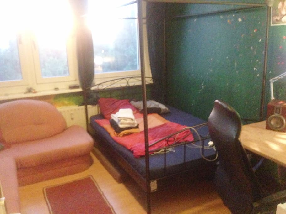 (1) Your cozy room with bed, big couch and, desk + desk chair for you to use