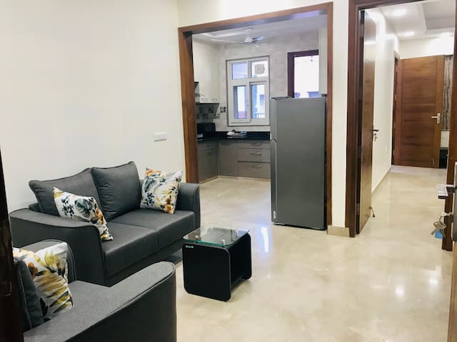 Fully furnished Two Bedroom Apartment with Couch seating & Full Kitchen with Stovetop Gas, Microwave, Refrigerator & Cookware/Cutlery. Both Bedrooms with attached Bathrooms.