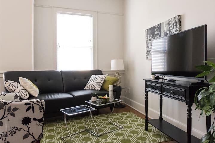 Living room - TV w/ Roku and Netflix