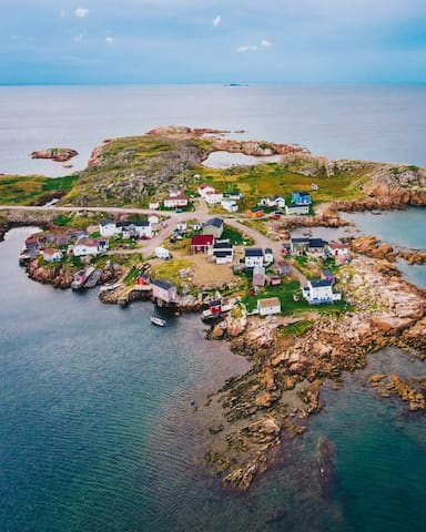 Ariel view of Barr'd Islands.  We are the blue house on the right.