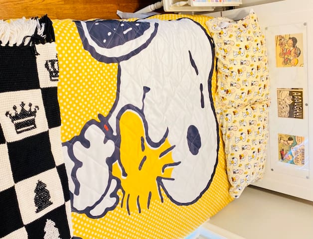 Snoopy 🐶Themed Whimsy Apt in Dallas Sleeps 4