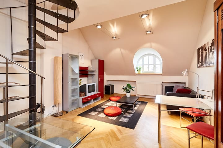 NEW! Letna Tower Duplex apartment (Just walk!)