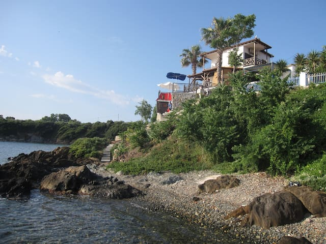 View from the first small beach accessible by steps from the patio.
