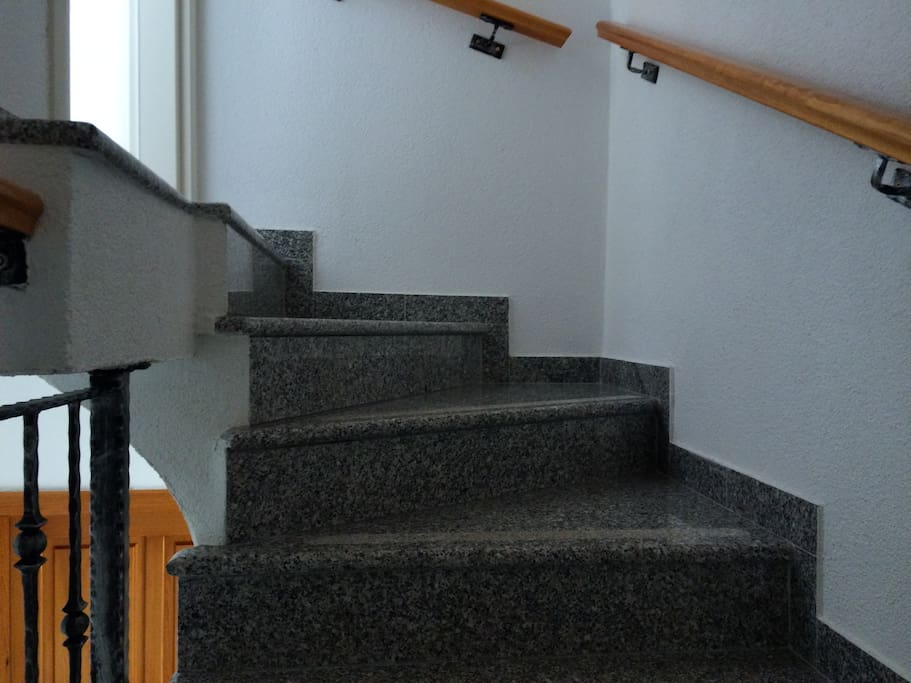 The stairway to the second floor