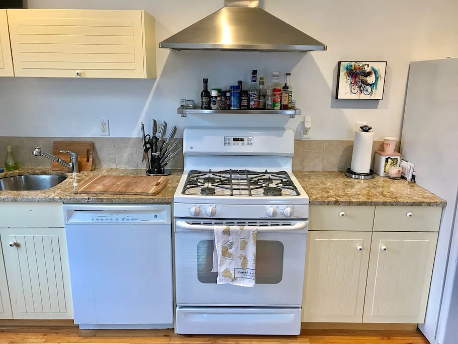 A kitchen with everything you need to stay in and cook.