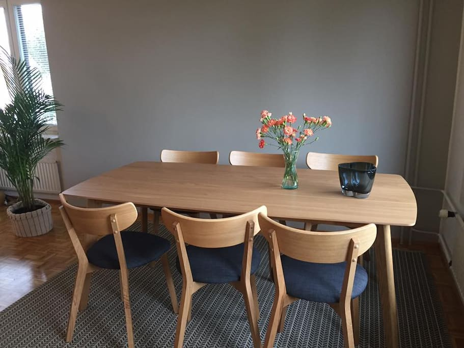 Dining table can be extended to fit 8 people.