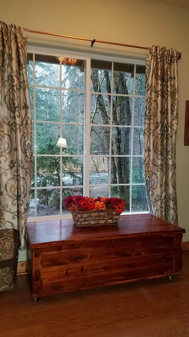 Relax in the cozy living room and watch the wildlife feed along side of Big Creek.