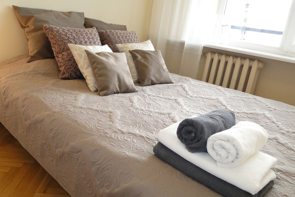 A comfortable double bed in the bedroom