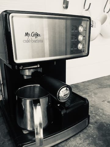 Brew an espresso or use the drip coffee maker for regular joe!