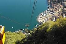 Cable car up the mountain for a birds eye view overlooking the lake.
