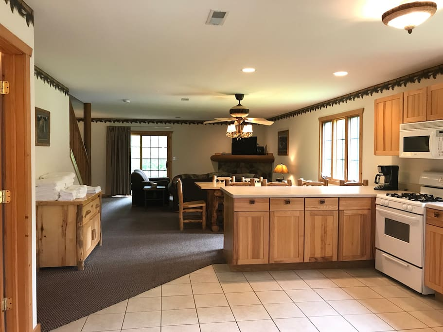 First floor - spacious open concept with Northwoods cozy theme