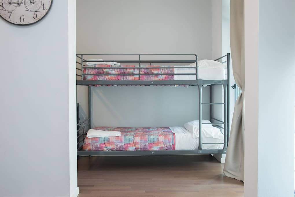 living area with bunk bed