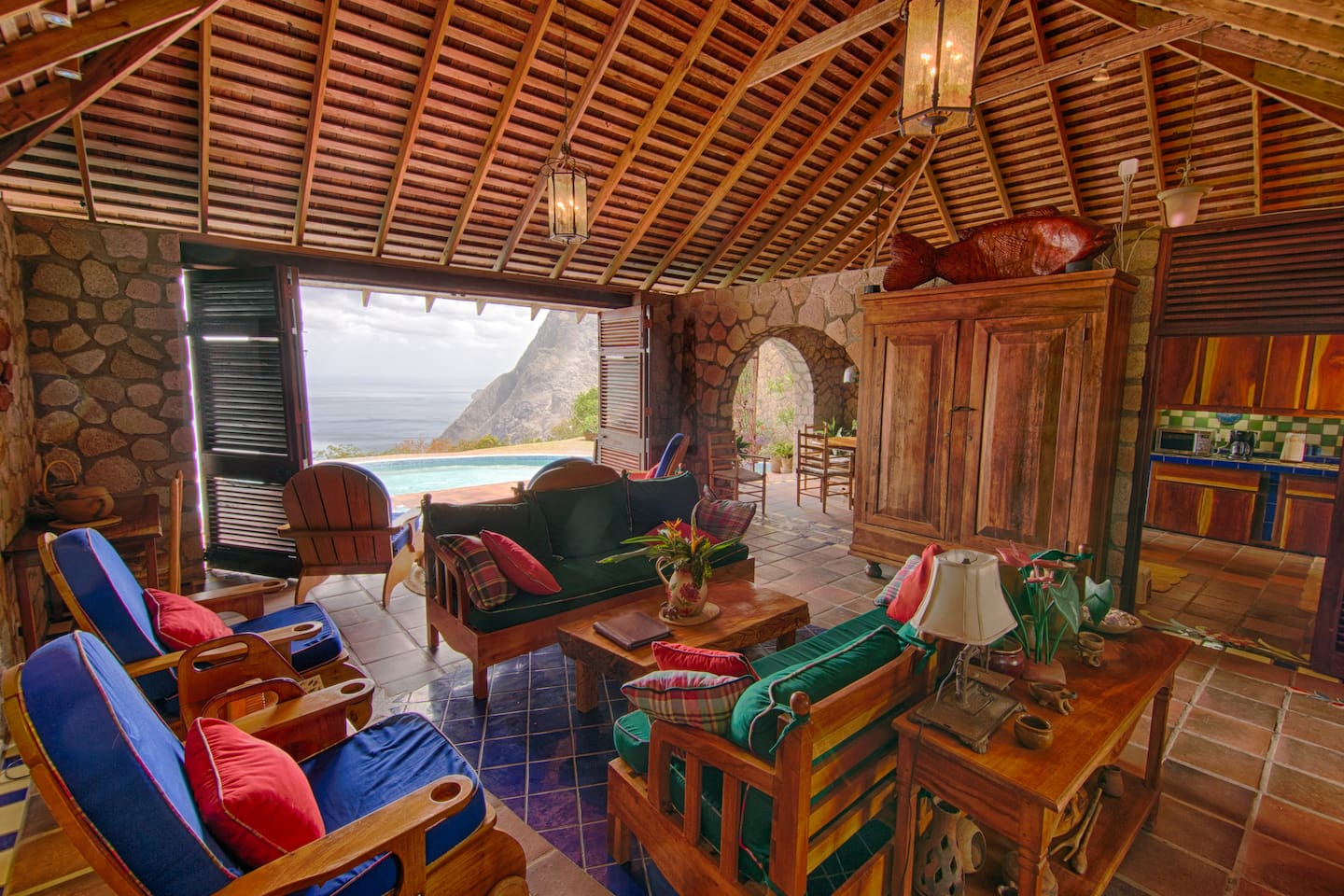 Villa Piton's living room has expansive views of BOTH the pitons and the blue Caribbean. Perfectly located within the Piton Management Area of the World Heritage Site, Villa Piton is one of only a very few private homes with this distinction and this view! Architectural perfection personified.