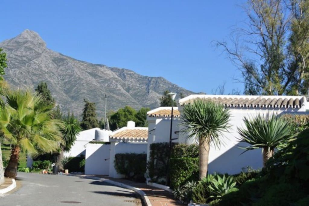 Quiet residential street with ample parking and easy access to swimming pool, golf course, shops, restaurants, bars, tennis club etc