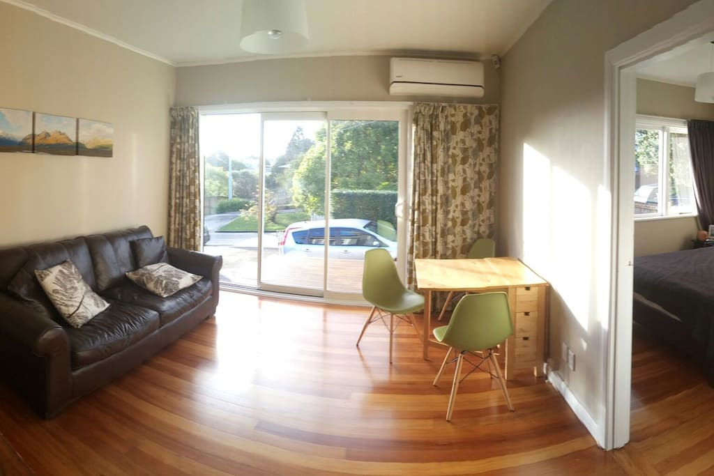 Living room with the view on to the deck and parking space